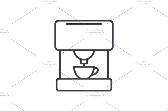 coffee machine vector line icon, sign, illustration on background, editable strokes