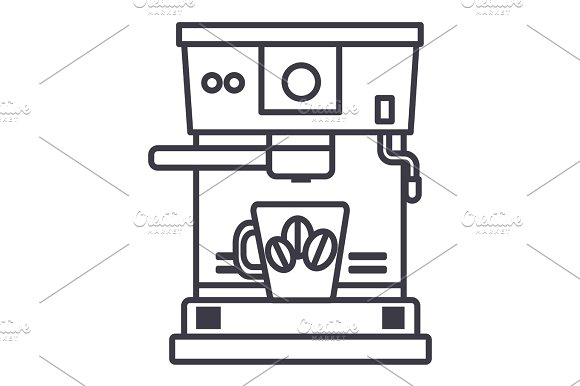 coffee machine with cup vector line icon, sign, illustration on background, editable strokes