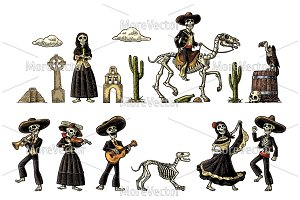Dia de los Muertos. The skeleton in Mexican national costumes