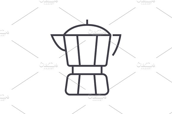 coffee maker vector line icon, sign, illustration on background, editable strokes