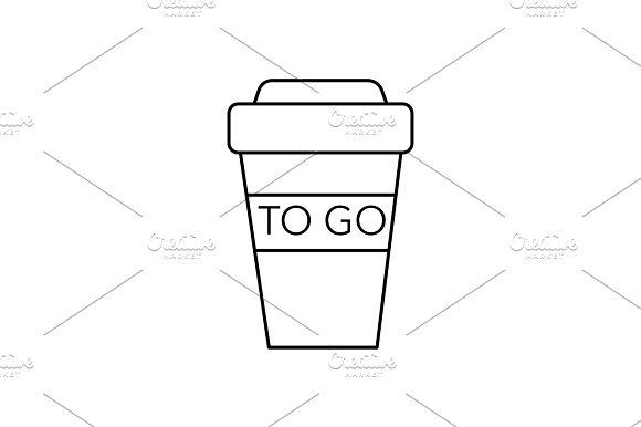 coffee to go cup vector line icon, sign, illustration on background, editable strokes