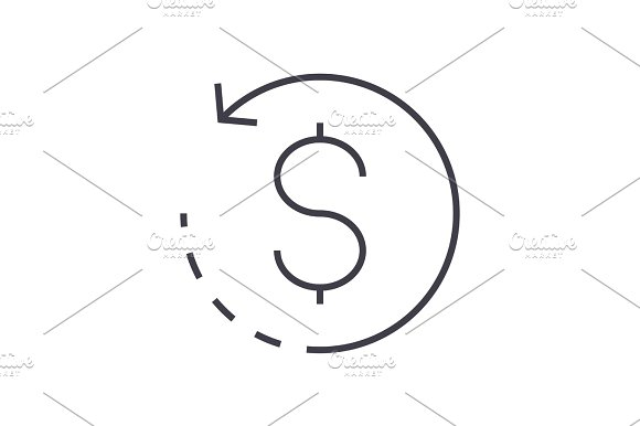 coin with round arrow vector line icon, sign, illustration on background, editable strokes in Illustrations