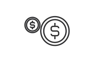 coins, usd vector line icon, sign, illustration on background, editable strokes