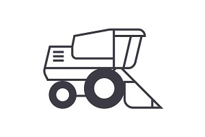 combine harvester vector line icon, sign, illustration on background, editable strokes