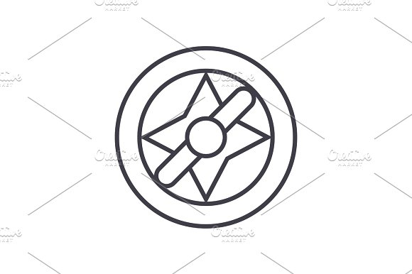 Compass Illustration Vector Line Icon Sign Illustration On Background Editable Strokes