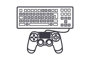 computer game vector line icon, sign, illustration on background, editable strokes