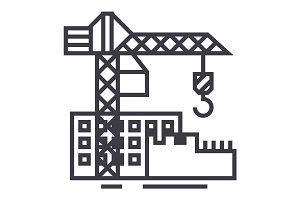 construction buildings vector line icon, sign, illustration on background, editable strokes