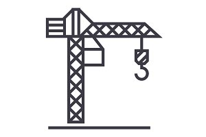 construction crane  vector line icon, sign, illustration on background, editable strokes