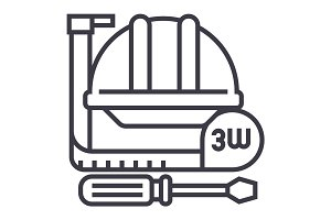 construction tools,meter, hard hat, hammer, screwdriver vector line icon, sign, illustration on background, editable strokes