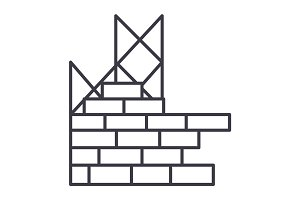 construction, building brick wall vector line icon, sign, illustration on background, editable strokes