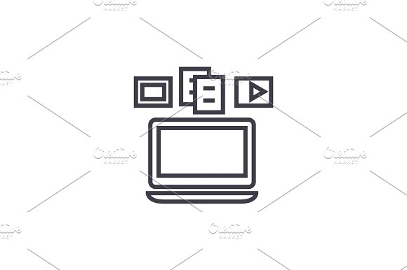 Content Syncing Laptop Media Vector Line Icon Sign Illustration On Background Editable Strokes
