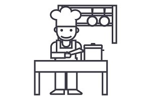 cooker,shef,kitchen, restaurant vector line icon, sign, illustration on background, editable strokes