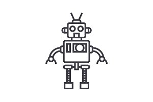 cool robot vector line icon, sign, illustration on background, editable strokes
