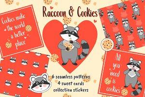 Raccoon & Cookies. Vector collection