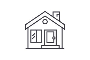 cottage, chimney,real estate vector line icon, sign, illustration on background, editable strokes