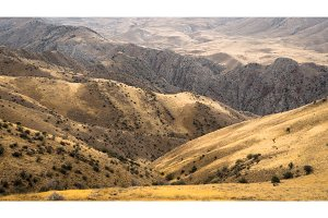 Panoramic view of the mountains and hills in Armenia