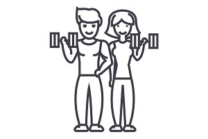 couple in fitness gym vector line icon, sign, illustration on background, editable strokes