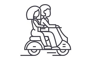 couple in love riding a scooter vector line icon, sign, illustration on background, editable strokes