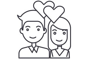 couple in love,hearts vector line icon, sign, illustration on background, editable strokes