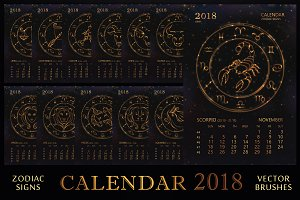 SET / 2018 CALENDAR / golden ZODIACS
