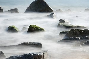 Silky sea at Badalona, Spain