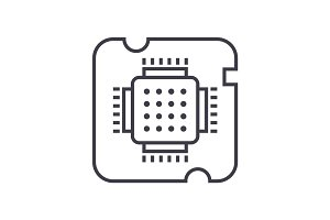 cpu socket,chip vector line icon, sign, illustration on background, editable strokes