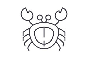 crab vector line icon, sign, illustration on background, editable strokes