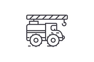 Crane arm car vector line icon, sign, illustration on background, editable strokes