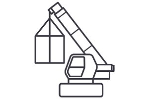 crane, cargo logistics, wrecker vector line icon, sign, illustration on background, editable strokes