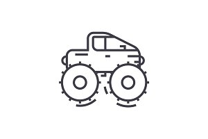 cross country vehicle,jeep vector line icon, sign, illustration on background, editable strokes
