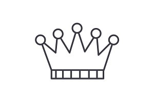 crown vector line icon, sign, illustration on background, editable strokes
