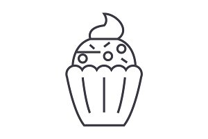 cupcake vector line icon, sign, illustration on background, editable strokes