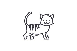 cute cat  vector line icon, sign, illustration on background, editable strokes