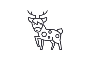 cute deer  vector line icon, sign, illustration on background, editable strokes