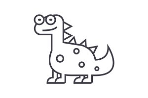 cute dino,dinosaur  vector line icon, sign, illustration on background, editable strokes