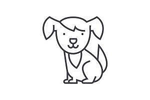 cute dog vector line icon, sign, illustration on background, editable strokes