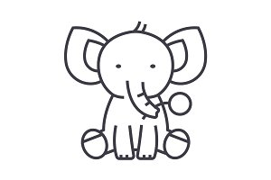 cute elephant  vector line icon, sign, illustration on background, editable strokes