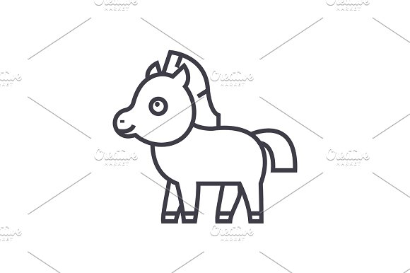 Cute Foal Horse Vector Line Icon Sign Illustration On Background Editable Strokes