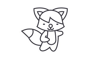 cute fox vector line icon, sign, illustration on background, editable strokes