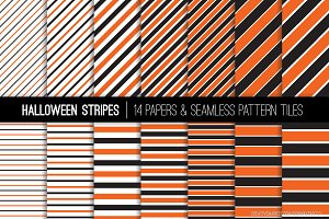 Halloween Orange Black Stripes