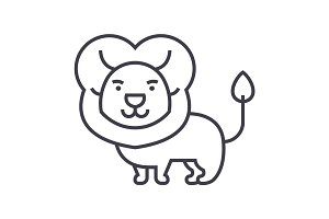 cute lion  vector line icon, sign, illustration on background, editable strokes