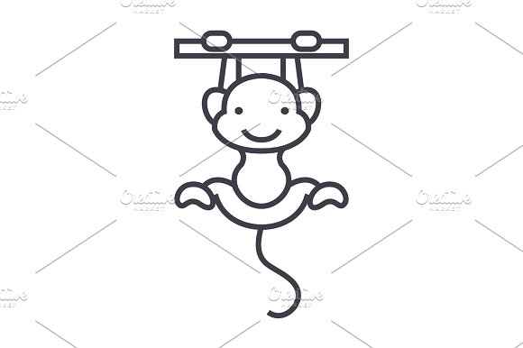 Cute Monkey Vector Line Icon Sign Illustration On Background Editable Strokes