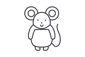 cute mouse  vector line icon, sign, illustration on background, editable strokes