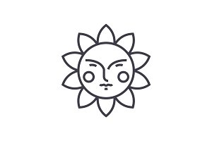 cute sun vector line icon, sign, illustration on background, editable strokes