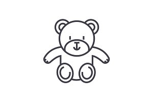 cute teddy bear vector line icon, sign, illustration on background, editable strokes