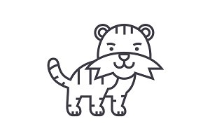 cute tiger vector line icon, sign, illustration on background, editable strokes