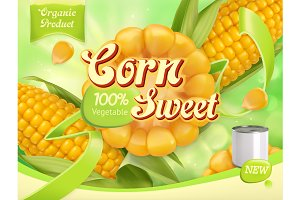 Sweet corn. Vector, package design