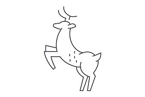 deer vector line icon, sign, illustration on background, editable strokes