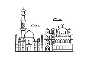 delhi,india vector line icon, sign, illustration on background, editable strokes