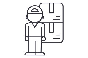 delivery man  vector line icon, sign, illustration on background, editable strokes